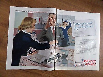 1958 American Airlines Ad Ticket Agent Passenger Leroy King New York City