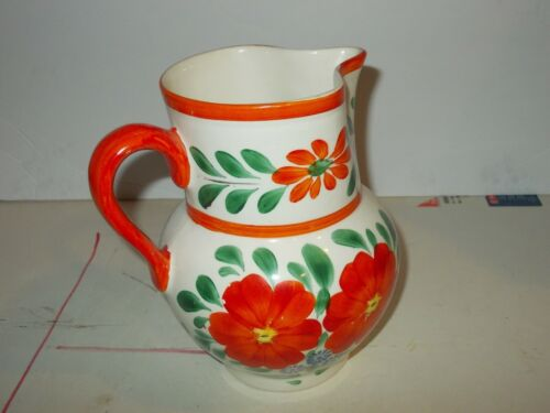 Beverage Pitcher Orange Blue Cream Floral Made in Czechoslovakia 7""