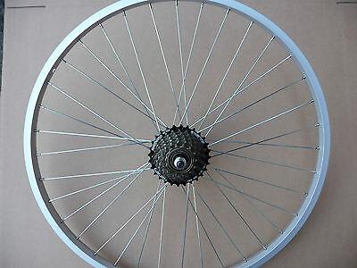 "26 "" ALLOY REAR MOUNTAIN BIKE WHEEL & 7 SPEED SHIMANO FREEWHEEL BICYCLE MTB NEW"
