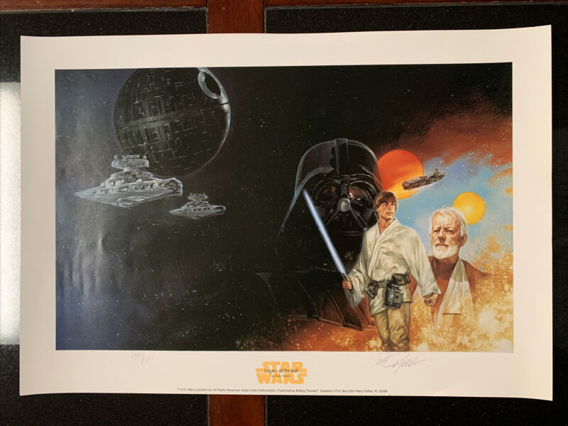 """STAR WARS LlMITED EDITION LITHO (1996) SIGNED BY DAVE DORMAN 16 1/2""""x24""""!"""