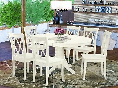 7pc dining set, Avon table w/ leaf + 6 Clarksville xx-back wood chairs off-white