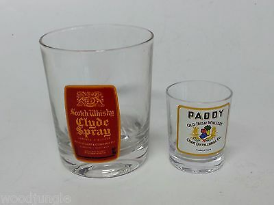 Vintage CLYDE SPRAY SCOTCH WHISKY GLASS PADDY OLD IRISH WHISKEY SHOT