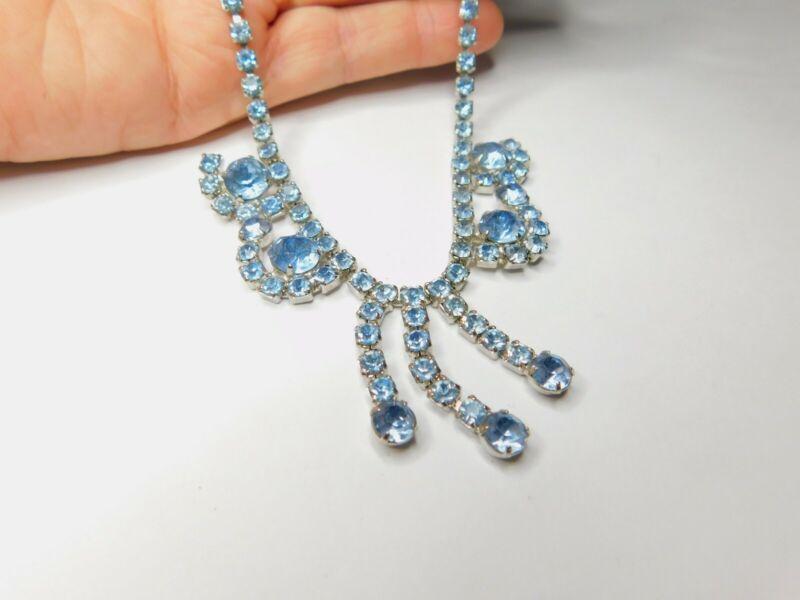 Elegant High End Light Blue Prong Set Rhinestone Dangle Necklace Vintage