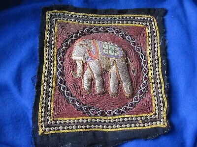 HAND BEADED & SEQUIN ELEPHANT ASIAN TAPESTRY SQUARE #3