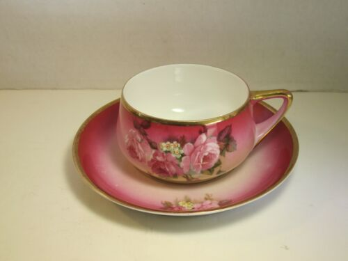 Beautiful Old TURIN Bavaria Marked Pink Florals Decorated Cup & Saucer Set