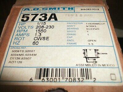Ao Smith 573a Motor 115 208-230v 1550 Rpm 1.3 Amp Cwse 3.3 Frame 516 X 3 Shaft