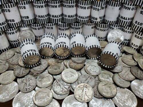 90% SILVER WALKING LIBERTY COIN + $10 UNSEARCHED BANK WRAPPED HALVES COINS ROLLS