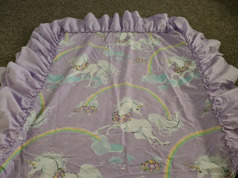 Vintage 1980s Sears purple/white unicorn rainbows bed sheet twin sz Canopy RARE