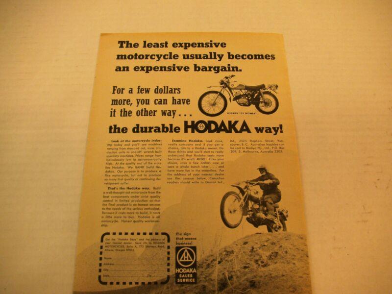 HODAKA MAGAZINE AD 125 WOMBAT 1973 ORIGINAL