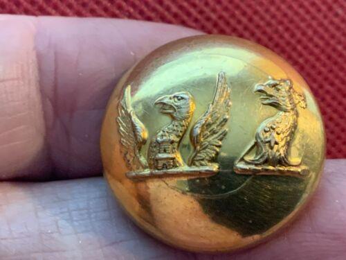 LYNE-STEPHENS Fam. DUAL CREST RAVEN/GRIFFIN 24mm GILT LIVERY BUTTON WYON c 1860