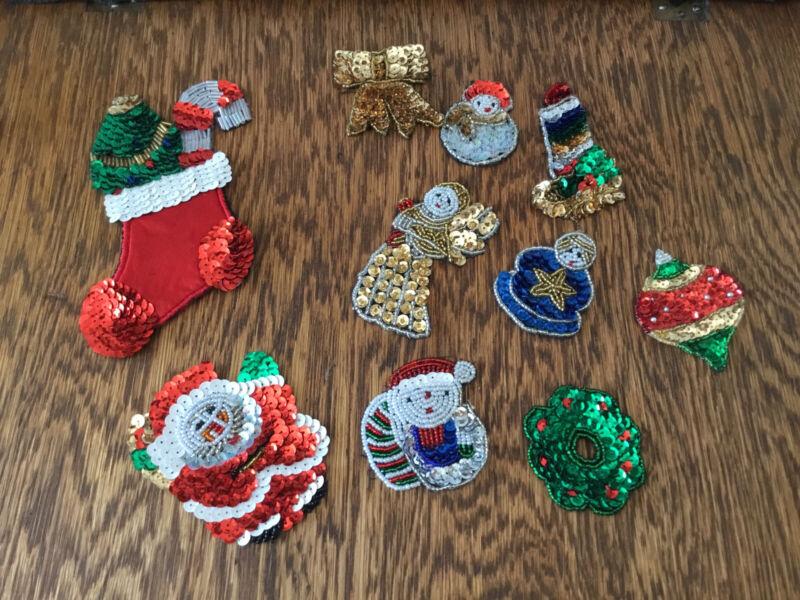 10 Vtg Sequin Patches Christmas Aplique Santa Stocking Angel Wreath Snowman More