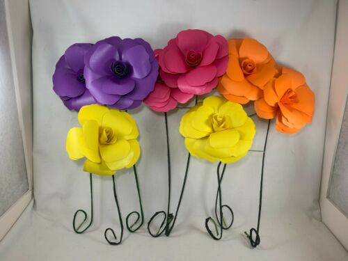 8 Paper Flowers on Wire Stems - Bright Multi-color w/Happy Birthday Leaf Message