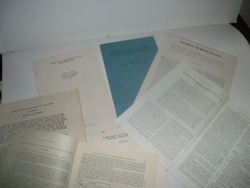 1953-58 Glaciers,Oceanography,Temperature Studies Lot of 6 Pamphlets & 1 Article