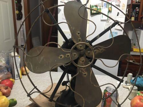 "R&M Robert & Myers Antique 16"" Brass 4 Blade Table Fan"