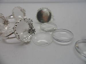5 VINTAGE Silver Adjustable ring pad,base & 15mm Cabochons~Ring Making Kit.RETRO