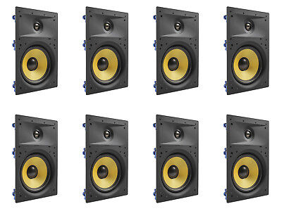 """8 Pack - TDX 6.5"""" 2-Way In Wall Home Theater Surround Sound Speaker Flush White"""