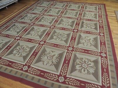 8x10 French Aubusson Needlepoint square Geometric RUG red green Floral Leaf Aubusson Square Rug