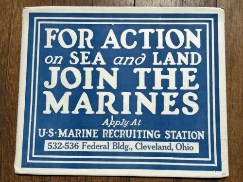 Authentic WWII US Marines Recruitment Poster - Cleveland Ohio