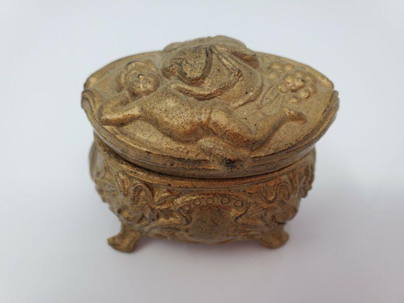 ANTIQUE ART NOUVEAU NUDE NYMPH MAIDEN w/ Shamrock GOLD TONE TRINKET JEWELRY BOX