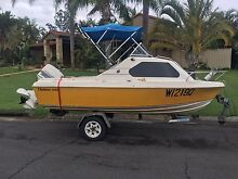15ft Half cab boat with 70hp Johnson motor. Rego on boat and trailer. Mermaid Waters Gold Coast City Preview