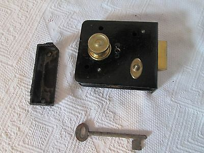 NEW VINTAGE OLD STOCK IRON DOOR LOCK BATHROOM, COMPLETE WITH LATCH AND KEEP