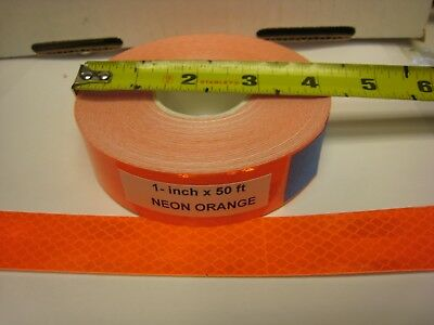 Neon Flourescent Orange Reflective  Conspicuity Tape 1 X 50 Ft Lined