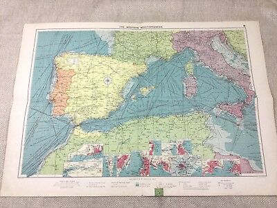 Vintage Map The Western Mediterranean  Shipping Routes Nautical Maritime Ports