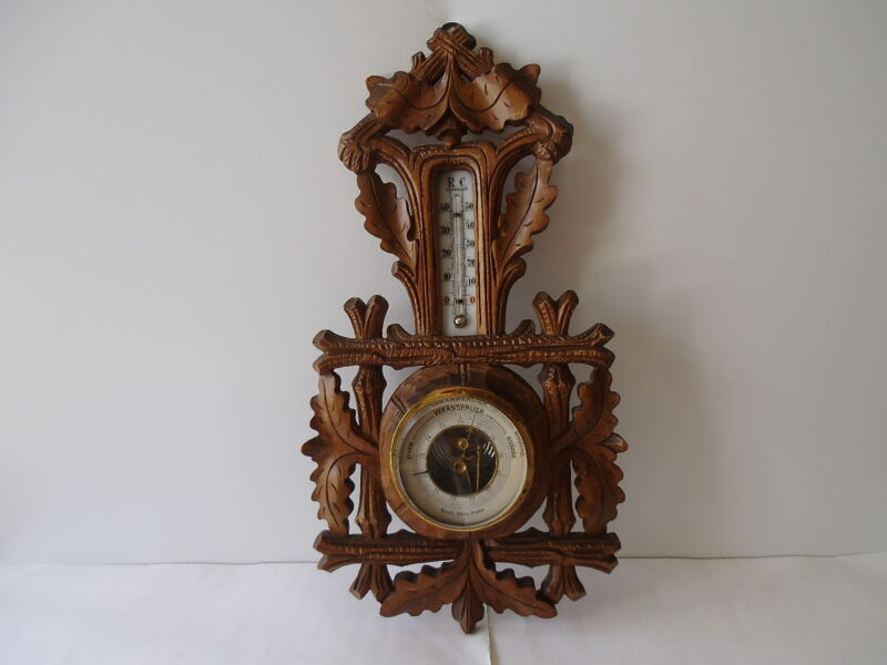"""ANTIQUE GERMAN BLACK FOREST 17"""" WALL BAROMETER & THERMOMETER"""