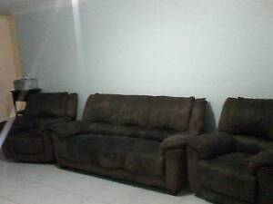 Brown suede lounge suite Rockhampton Rockhampton City Preview
