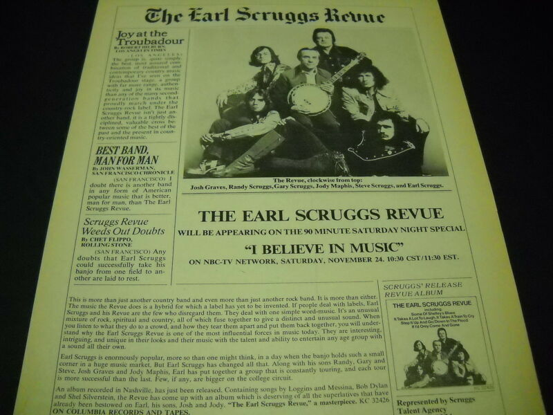 EARL SCRUGGS 1973 Faux Newsprint style PROMO POSTER AD mint condition