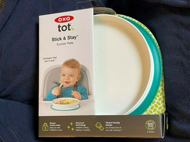 OXO Tot Stick & Stay Secure Suction Pad Plate Teal BPA Free Child Bowl NEW