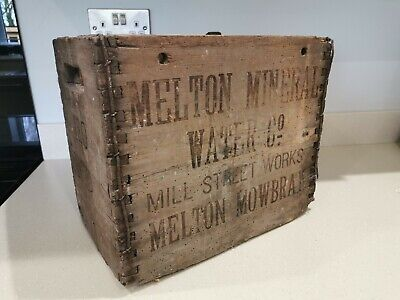 Old antique Melton Mowbray Water Co crate box - display prop