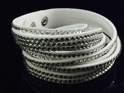 Swarovski White Leather - Slake Crystal Wrap Bracelet made w Swarovski Crystal & White Alcantara ® Leather