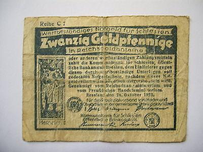 20 Goldpfennige , 6.10.1923 , Schlesien , Breslau