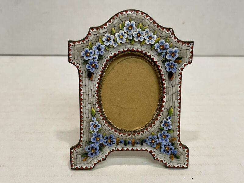 Antique Italian Micro Mosaic Floral Decorated Bronze Picture Frame, #788