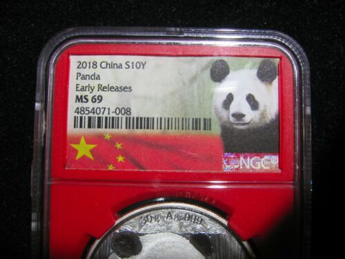 CHINA 2018 PANDA 3 DIFFERENT HOLDERS 3 COINS ALL MS-69  SILVER