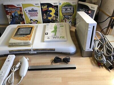 Nintendo Wii White Console Bundle Including Wii Fit Board And Extras