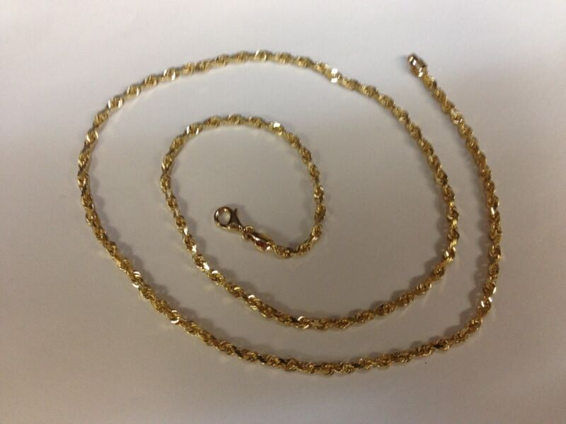 """10kt Solid Gold Diamond Cut Rope Chain Necklace 24"""" 3 Mm 12 Grams (023rr)"""