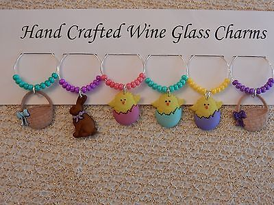 """EASTER"" CHICKS AND BASKETS SET OF 6 HAND CRAFTED WINE GLASS CHARMS"