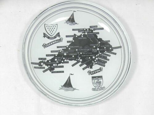 Vtg Cornwall & Devon England Map Glass Trinket Coin Dish Tray Plate