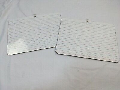 2 White Boards School Students 9 X 12 Double-sided Lines Blank Spelling