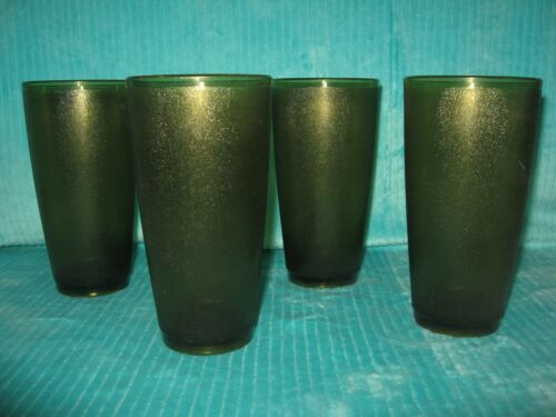 Vintage Set 4 Avocado Green Plastic Frosted Tumblers Cups Stacking 14 oz