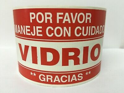 Spanish Vidrio Glass Fragile Shipping Warning Stickers 3x5500 Labels