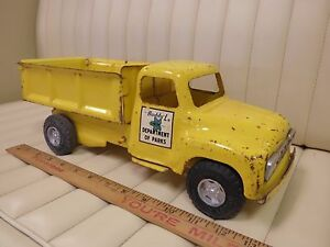 1964-BUDDY-L-034-Department-of-Parks-034-Dump-Truck-Pressed-Steel-Toy