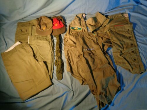 9 Vintage BOY SCOUTS of AMERICA HATS SLACKS SHORTS SOCKS SHIRTS with PATCHES