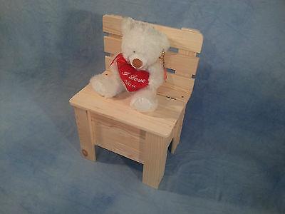 Massivholz Spielzeugkiste Truhe (Kinderstuhl Holzstuhl Truhe Spielzeugkiste Massivholz Kiefer Unbehandelt Neu)
