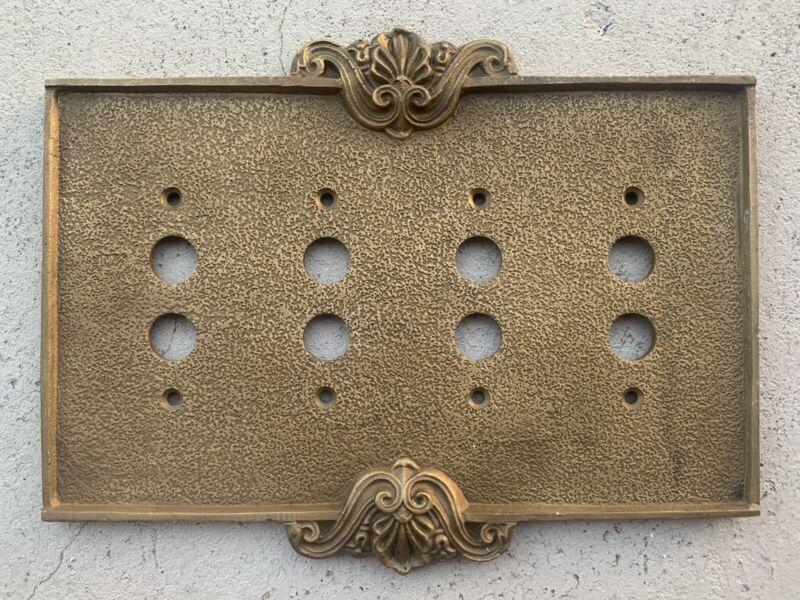 VINTAGE Push Button Light Switch Plate Panel 4 Gang Brass Fancy
