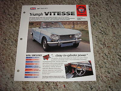 Uk 1962 1971 Triumph Vitesse Hot Cars Group 5   53 Spec Sheet Brochure
