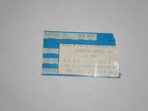 Crowded House Neil Finn Ticket Stub-1987-First American Tour-Roxy Theatre-CA