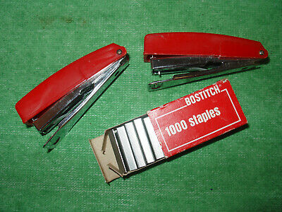 Vintage Bostitch Mini Stapler And Original Box Of Staples Lot Of 2